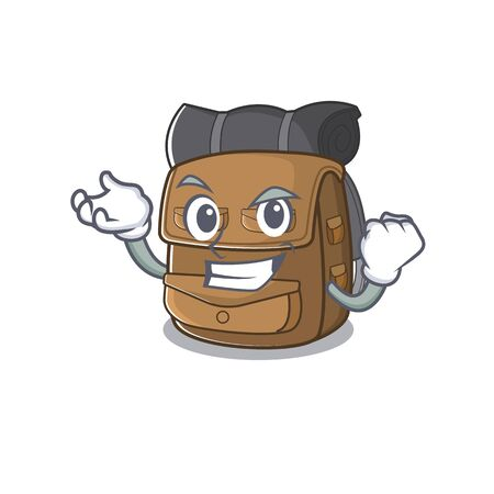 Happy confident Successful hiking backpack Scroll cartoon character style. Vector illustration