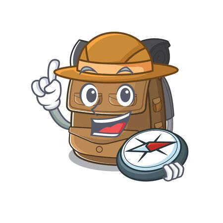 Hiking backpack Scroll A stylized Explorer with a compass. Vector illustration