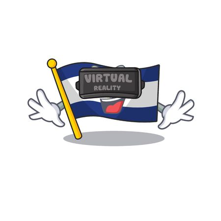 cool flag el salvador Scroll character using Virtual reality headset. Vector illustration Ilustração