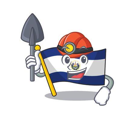 Cool confident Miner flag el salvador Scroll cartoon character design. Vector illustration