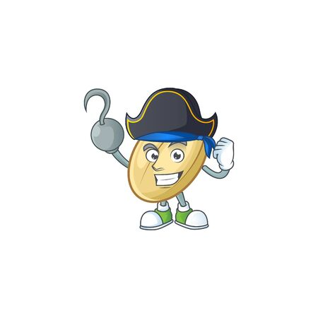 one hand Pirate split bean cartoon character wearing hat. Vector illustration