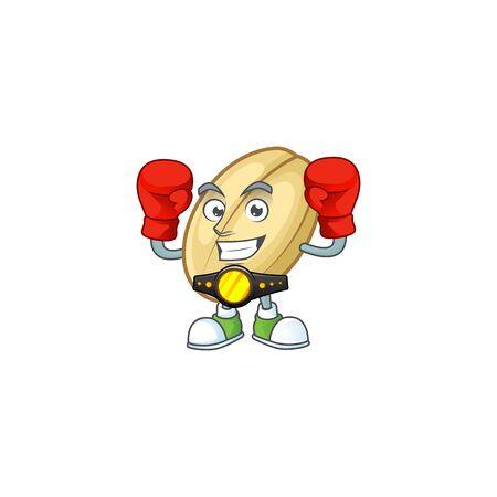 Funny Face Boxing split bean cartoon character design. Vector illustration