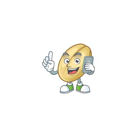 Mascot design of split bean speaking on the phone. Vector illustration