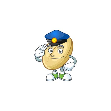 Split bean Cartoon in character a Police officer costume. Vector illustration