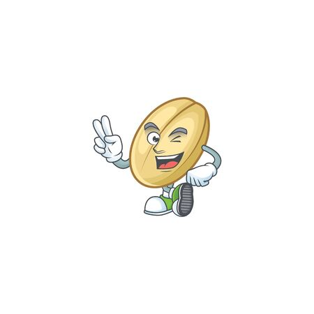 Split bean cartoon mascot style with two fingers. Vector illustration