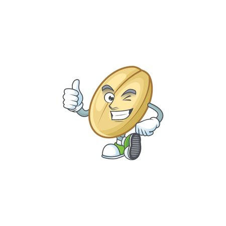 cartoon character of split bean making Thumbs up gesture. Vector illustration