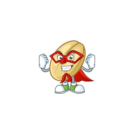 A cartoon of split bean with Super hero costume. Vector illustration