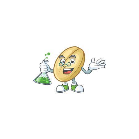 Smart split bean cartoon character holding glass tube. Vector illustration