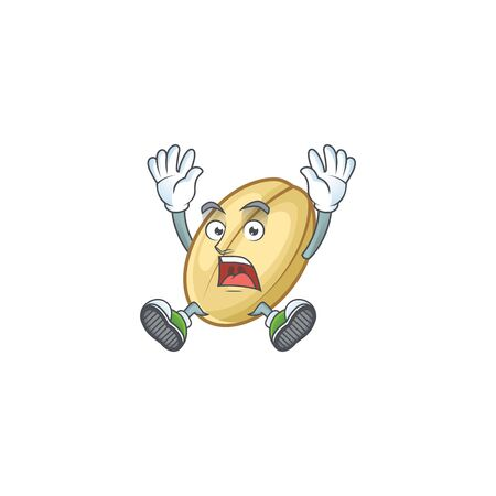 Cartoon character of split bean style with shocking gesture. Vector illustration