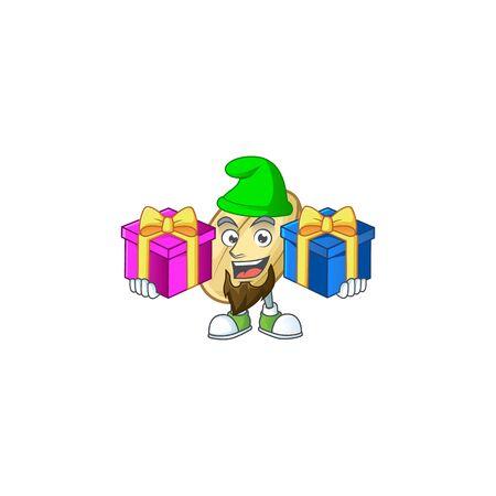 Cheerful split bean cartoon design with Christmas gift boxes. Vector illustration Stock Illustratie