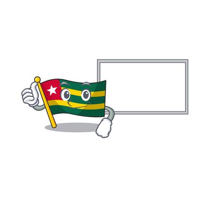 cute flag togo Scroll cartoon character Thumbs up with board