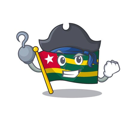 one hand Pirate flag togo Scroll cartoon style with hat. Vector illustration