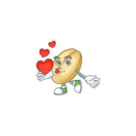 Happy split bean cartoon character mascot with heart. Vector illustration