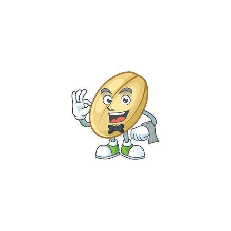 Split bean cartoon character as a Waiter look. Vector illustration