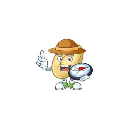 Cool Explorer split bean cartoon character with a compass. Vector illustration