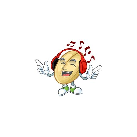 Singing and Listening music split bean cartoon character. Vector illustration