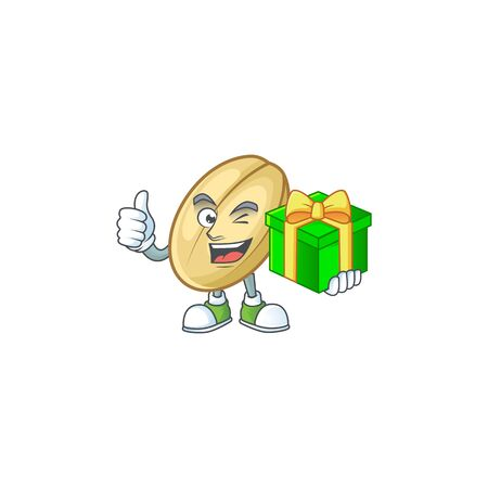 cartoon character of happy split bean with gift box. Vector illustration