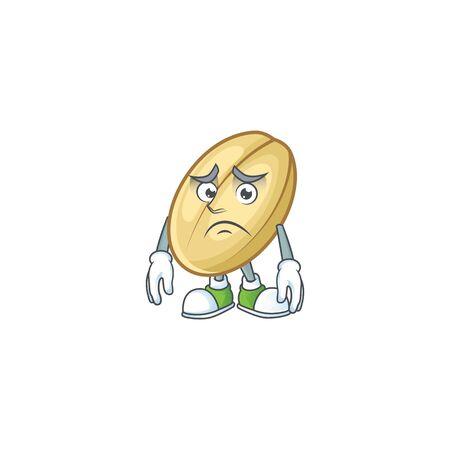 Afraid split bean Cartoon character mascot design. Vector illustration Stock Illustratie