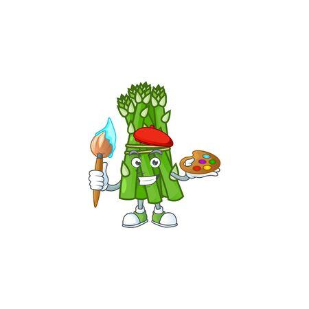 Happy asparagus painter cartoon icon with brush. Vector illustration