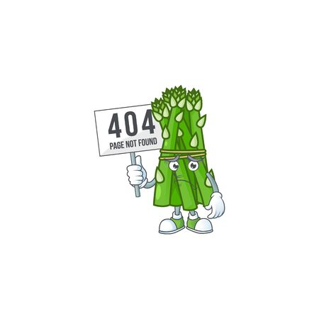 sad face cartoon character asparagus raised up a board. Vector illustration