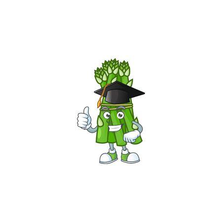 Happy asparagus wearing a black Graduation hat. Vector illustration