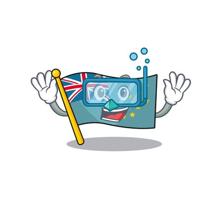 cartoon Mascot featuring flag tuvalu Scroll wearing Diving glasses. Vector illustration