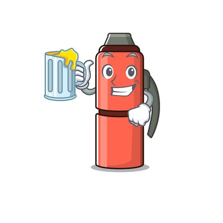 Happy bottle Scroll mascot design with a big glass