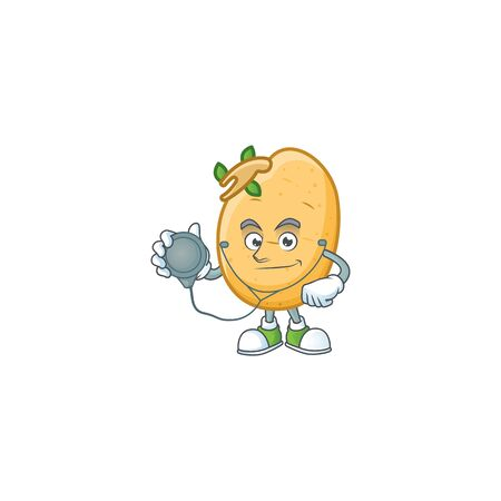 Sprouted potato tuber cartoon character style as a Doctor with tools