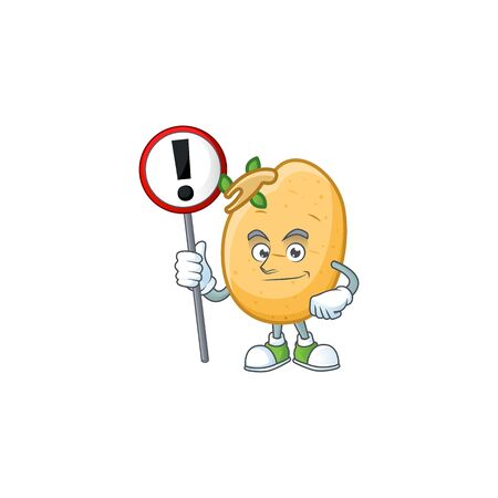 Cartoon mascot of sprouted potato tuber bring sign in his hand