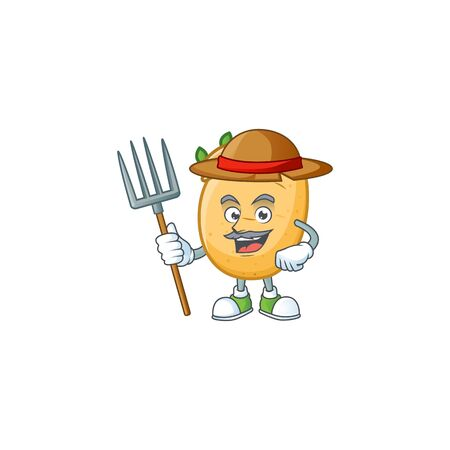 Happy Farmer sprouted potato tuber cartoon mascot with hat and tools Illustration