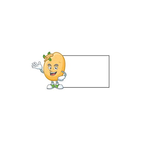Sprouted potato tuber with whiteboard cartoon character style. Vector illustration