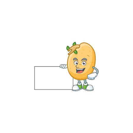 cute sprouted potato tuber cartoon character with a board. Vector illustration