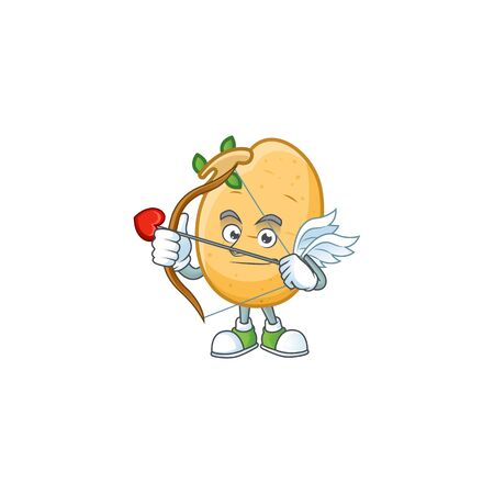 cartoon character of sprouted potato tuber Cupid having arrow and wings. Vector illustration Illustration