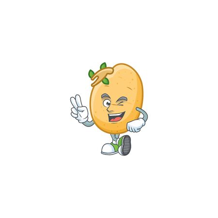 Sprouted potato tuber cartoon mascot style with two fingers. Vector illustration