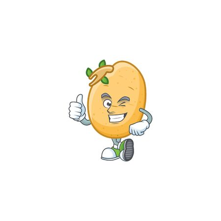 cartoon character of sprouted potato tuber making Thumbs up gesture. Vector illustration Illustration