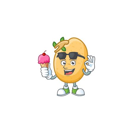 Cute sprouted potato tuber cartoon character with ice cream. Vector illustration
