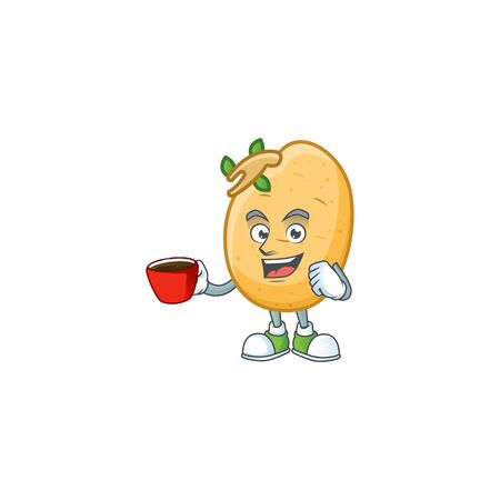Picture of sprouted potato tuber character with a cup of coffee. Vector illustration Illustration