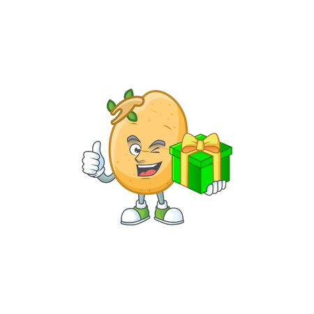 cartoon character of happy sprouted potato tuber with gift box