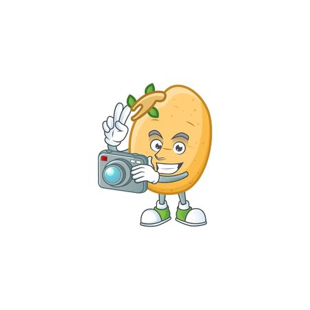 Smart Photographer sprouted potato tuber cartoon mascot with a camera