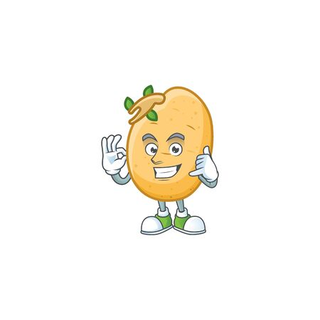 Call me cool sprouted potato tuber cartoon character design
