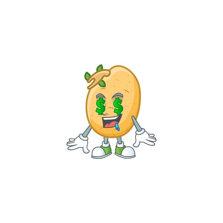 Cute sprouted potato tuber with Money eye cartoon character design