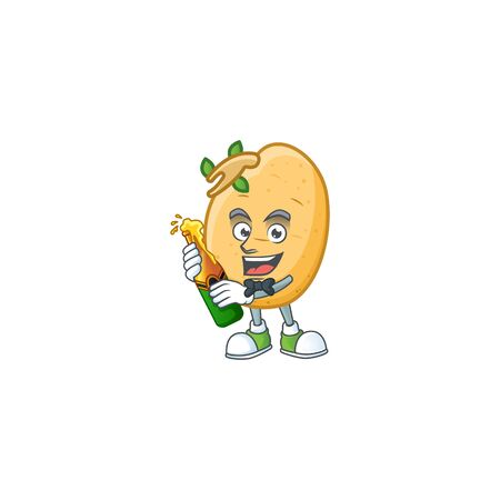 Happy sprouted potato tuber with beer cartoon character design Illustration