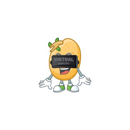 cool sprouted potato tuber character with Virtual reality headset  イラスト・ベクター素材