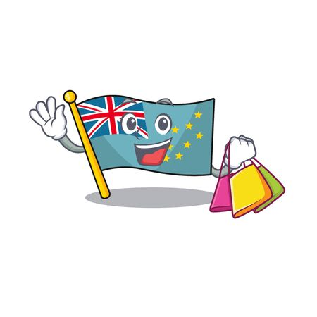 Happy face flag tuvalu Scroll mascot style waving and holding Shopping bag