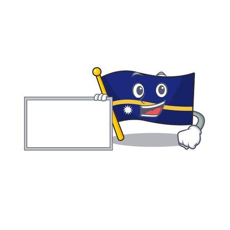 Flag nauru Scroll with board cartoon mascot design style