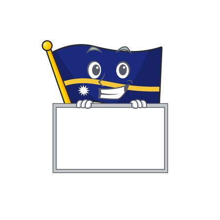 Flag nauru Scroll cartoon character style grinning with board