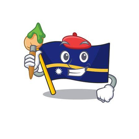 Funny flag nauru Scroll Artist cartoon character holding brush