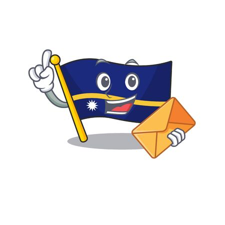 Happy face flag nauru Scroll mascot design with envelope