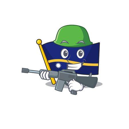 A mascot of flag nauru Scroll Army with machine gun