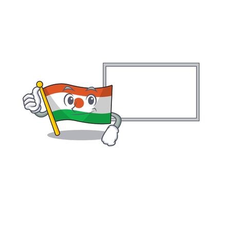 cute flag niger Scroll cartoon character Thumbs up with board 向量圖像